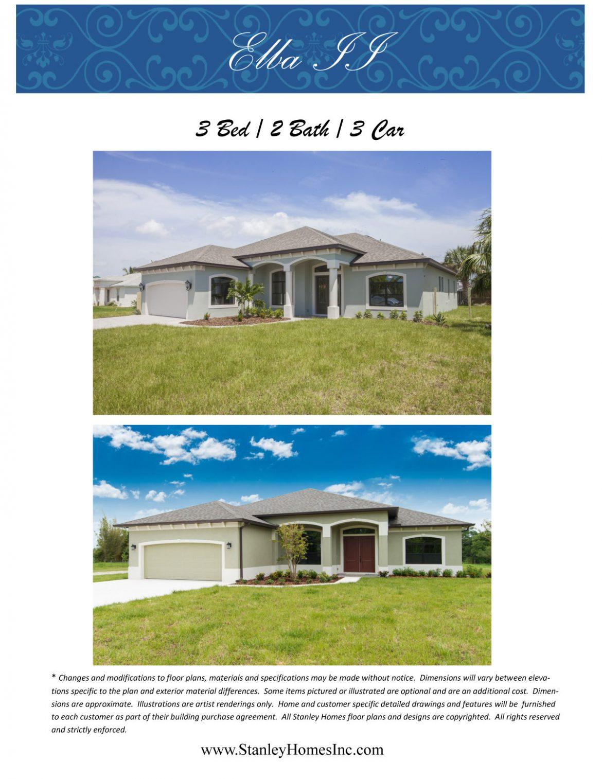 Elba II floor plan brochure Stanley Homes Melbourne FL