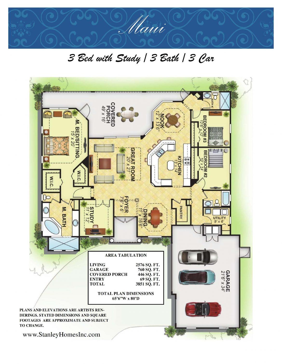 Maui Floor plan layout brochure Stanley Homes Brevard FL