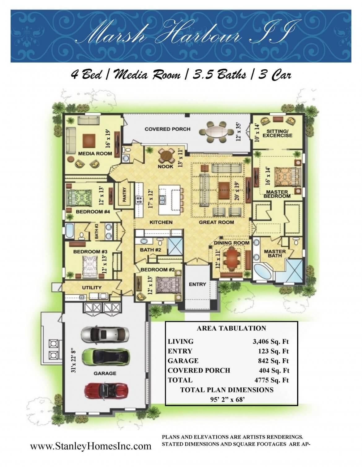 Marsh Harbor II Floor Plan brocure layout Stanley Homes Melbourne Brevard