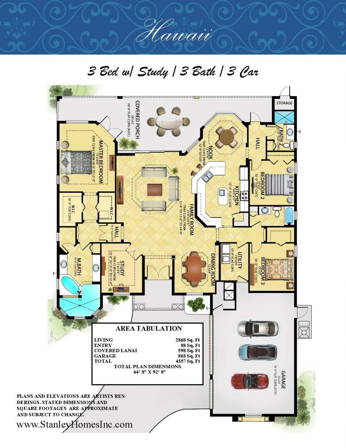 Stanley Homes Hawaii Floor Plan custom home in Viera and Brevard FL
