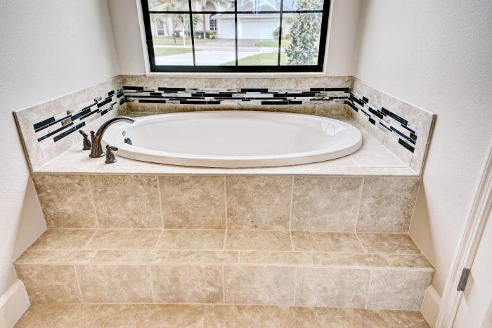 Master Bath with Tile inlay backsplash