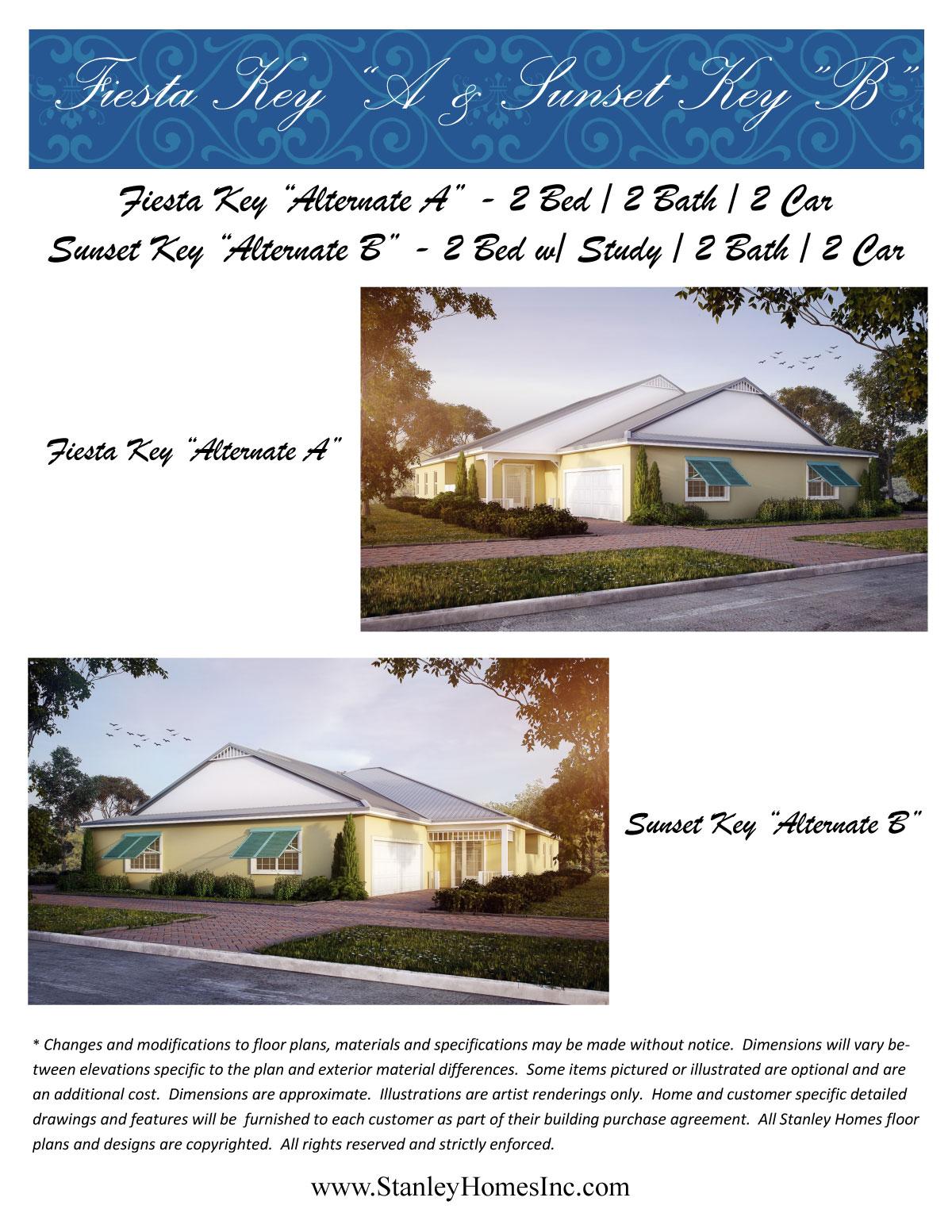 Fiesta and Sunset Key Floor plan brocure Stanley Homes Brevard FL