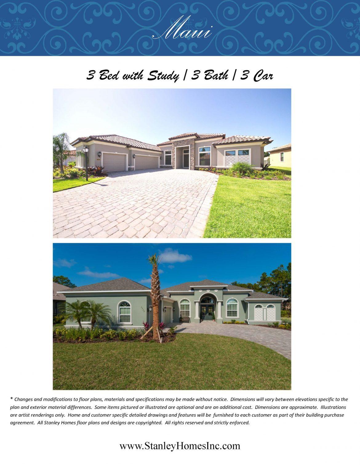 Maui Floor plan elevation brochure Stanley Homes Brevard FL