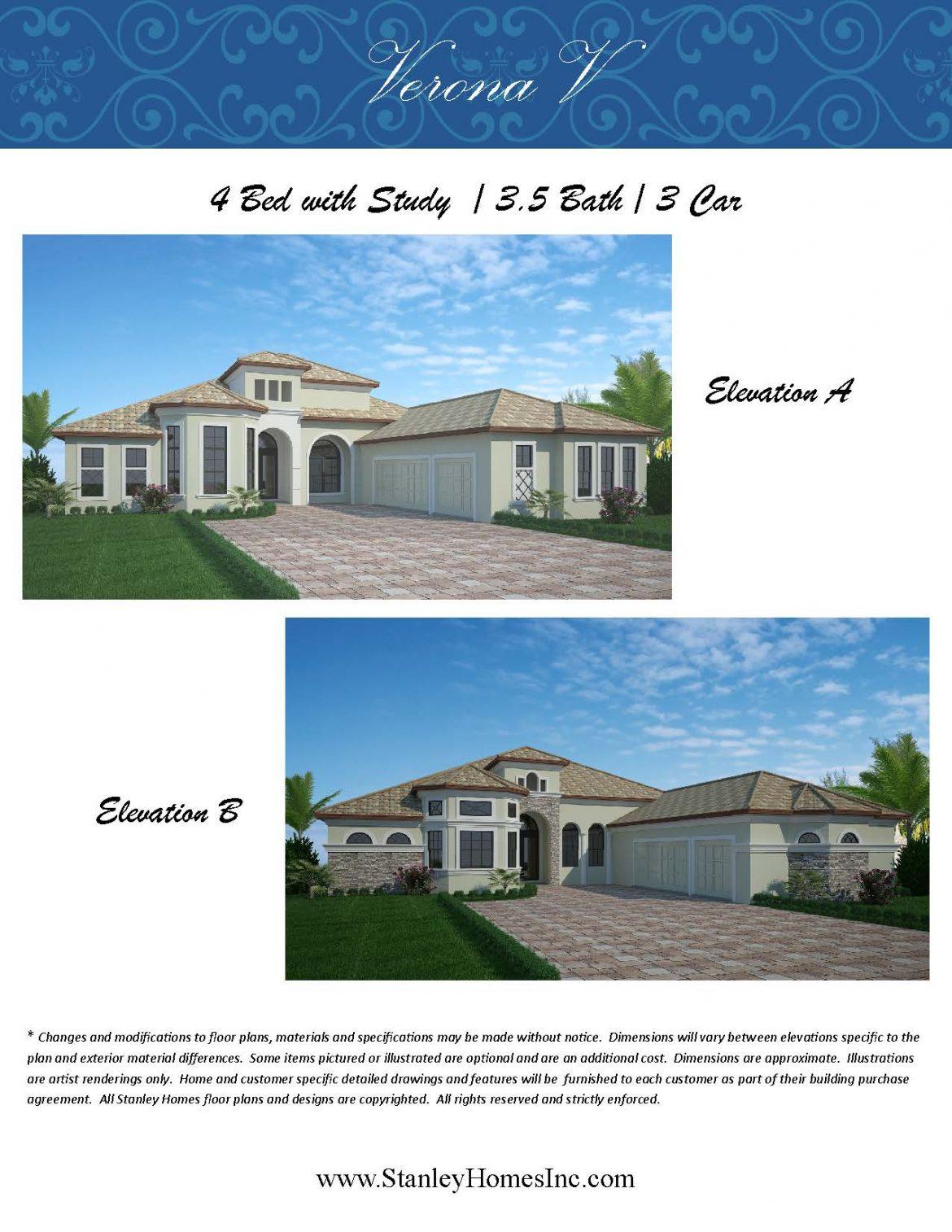 Stanley Homes Verona V Floor Plan Custom Homes in Viera FL Brevard